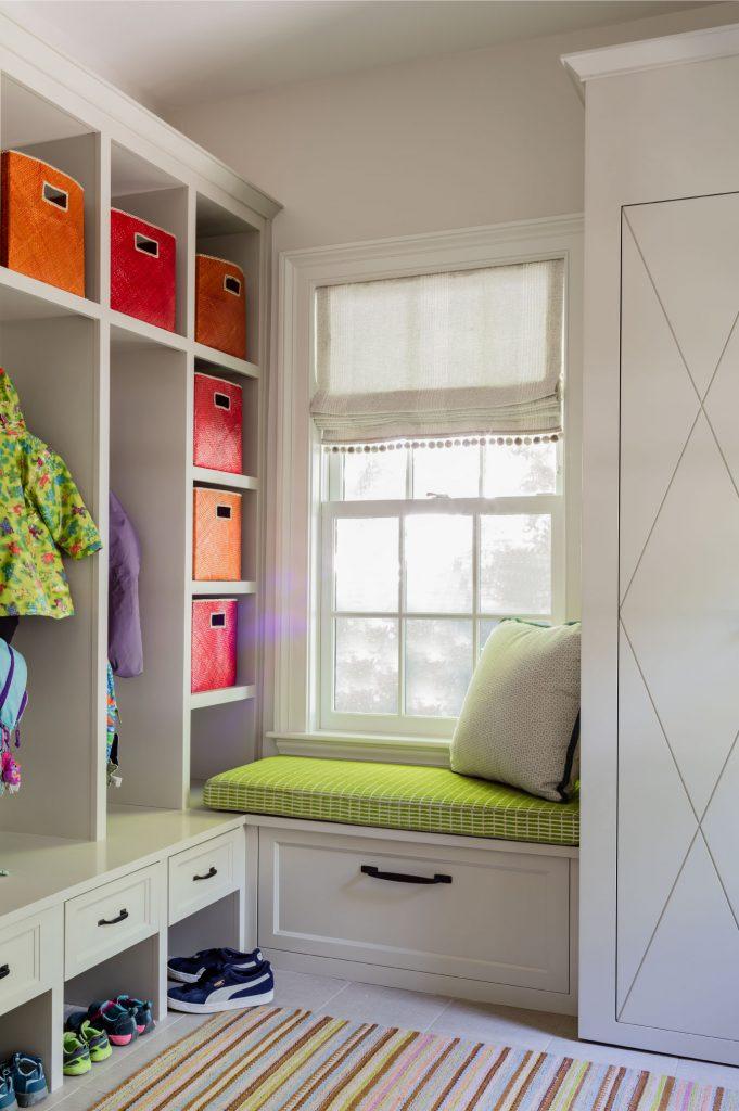 transitional mudroom, coloful mudroom, built in window bench, mudroom storage, mudroom cubbies, colorful storage bins, built in mudroom storage